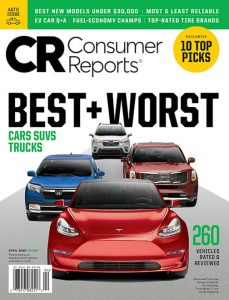 Cover of the april issue of consumer reports magazine