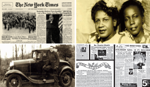 collage of black and white photos and newspaper clippings