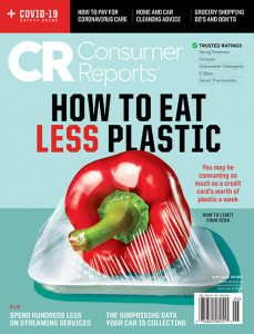 June 2020 cover of consumer reports magazine with red pepper covered with plastic wrap
