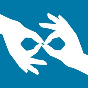 two hands using sign language on blue background
