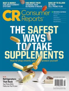 Cover of September 2020 issue of consumer reports. Blue background, multi colored pills