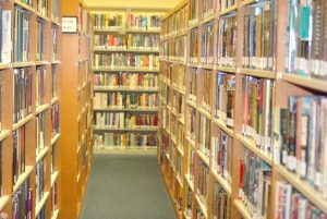 interior of library stacks