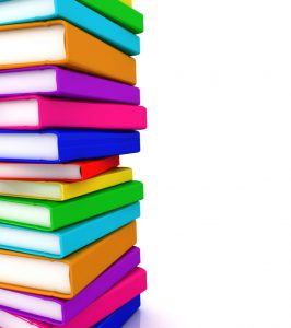 stack of colorful books to the left