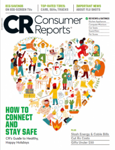 Cover of December 2020 Consumer Reports, heart collage of people and situations