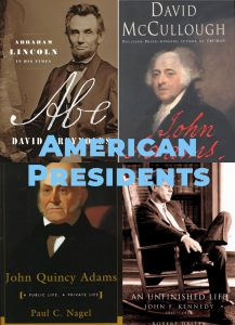 Book covers showing Abraham Lincoln, John F Kennedy, John Quincy Adams and John Adams